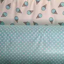 160cm*50cm Blue ice cream cone ab diy handmade baby cotton cloth 100% cotton infant bedding linens fabric diy sewing tecidos