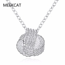 MEEKCAT Hot Brand Silver Plated Women Pendant collares Rose Ball Slide Fashion Chain Necklaces 925 Jewelry Accessories Jewellery(China)