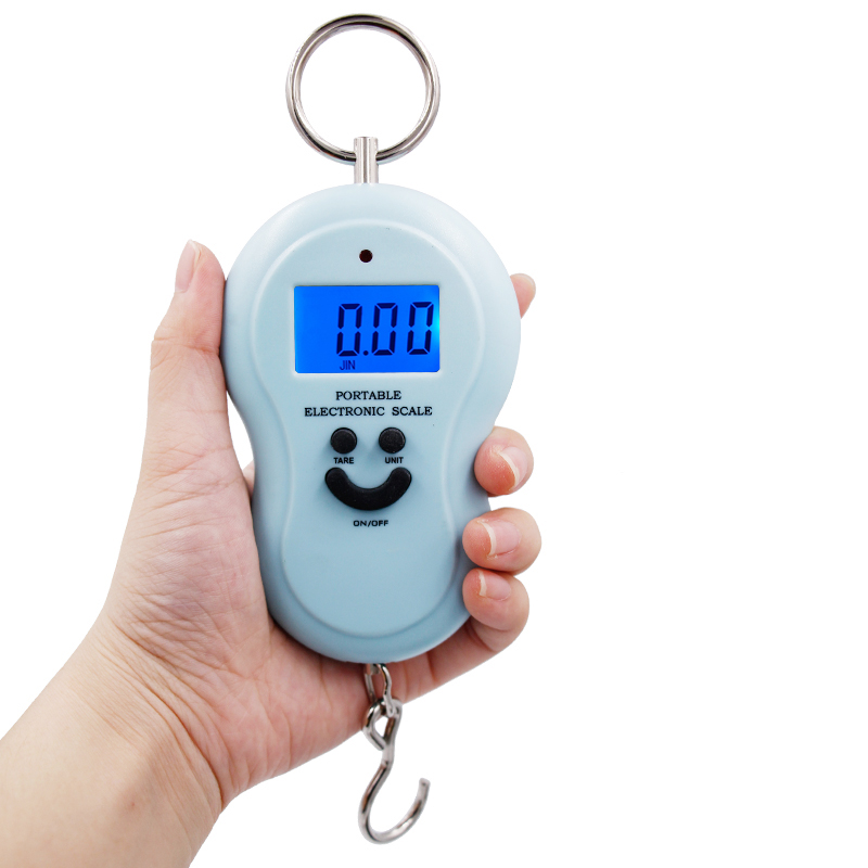 100pcs/lot by dhl fedex Electronic Luggage Weight Fishing Hook Scale Weighing balcance 50kg * 10g LCD display 4