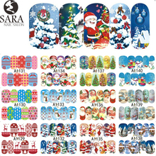 Nail Salon 1pcs Christmas Santa Sticker Water Transfer Nail Art Stickers Nails Decals Temporary Tattoos Tips SAA1129-1140