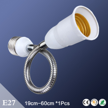 Cheap  White E27 Lengthen 19cm 29cm 39cm 60cm Male to Female Lamp Holder Flexible E27 Extension Adapter Converter Bulb lighting