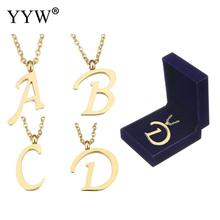 26 Letter Simple Couplpe Stainless Steel Necklace Charm Pendant Necklace Lover Gift Gold Color Initial Choker with packing box(China)