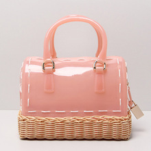 Luxury Famous Design Silicone Women Candy Color Woven Beach Top-Handle Bags Simple Casual Sweet Jelly Summer Mini Tote Handbags