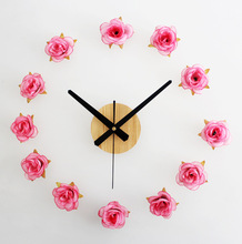 romantic rose DIY home decor  large digital wall clocks modern design,sticker wall clock watches vintage