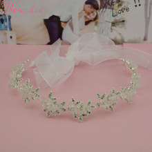 New  Clear Crystal Bridal Wedding bridal headbands  Metal Rhinestone Leaf Tiaras Crown for Women Freeshipping RE198B