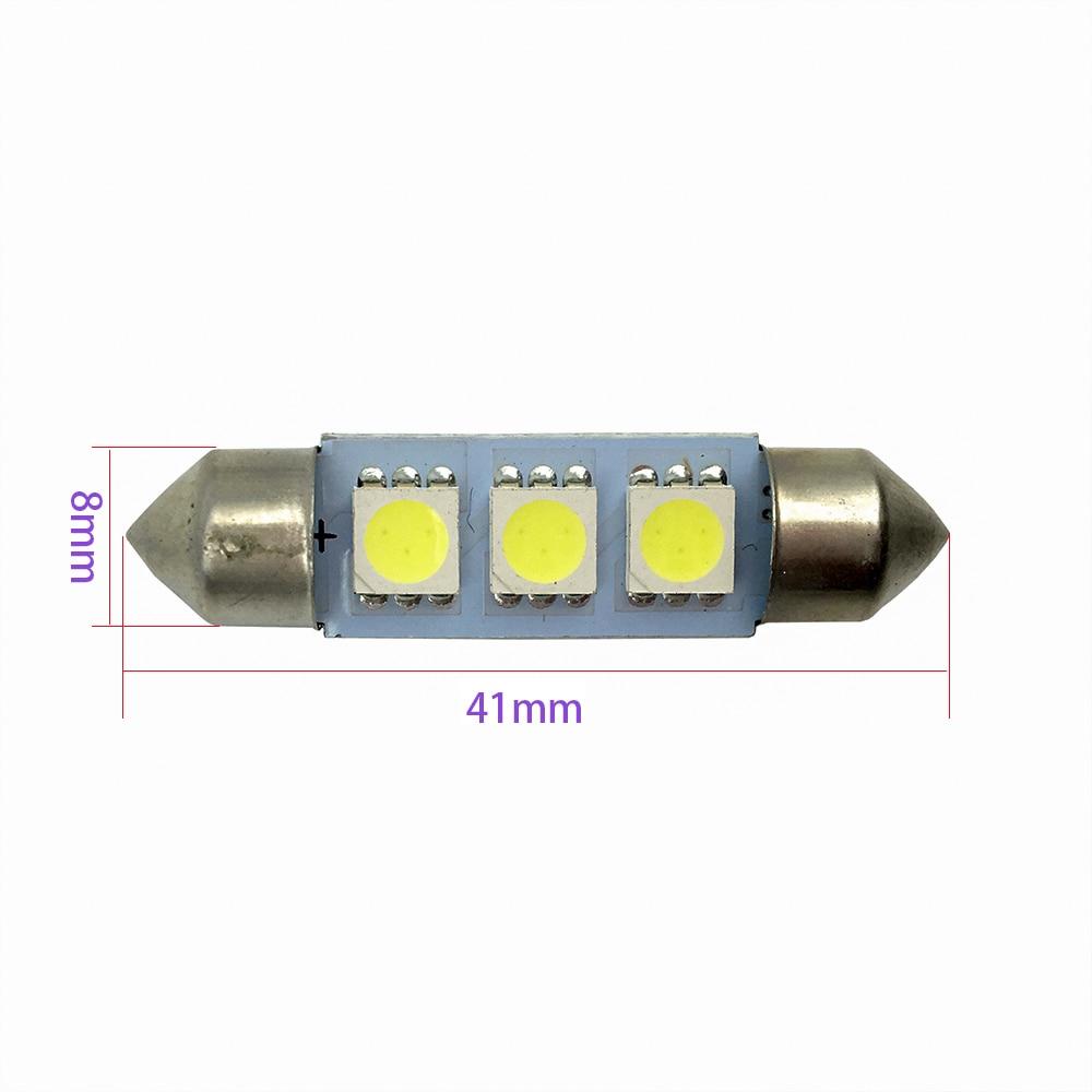 ALL Post Free!! 10PCS 36mm 39mm 41mm White 3 SMD 5050 C5W Car Interior Dome Festoon Light Bulb 3 LED Bulbs Light Lamp 12V