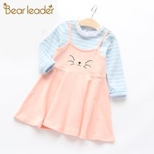 Bear Leader Autumn Cartoon Grils Dress 2017 New Girls Clothes Long Sleeve Kitty Embroidery Fake Two Piece Dress for Kids Clothes(China)