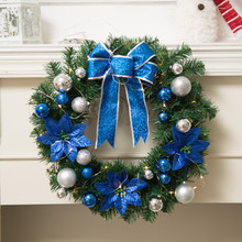 Fashion DIY Merry Christmas PVC Plastic Wreath Garland Window Door Decorations Ornament With Warm LED Lights Xmas Decoration@GH(China)