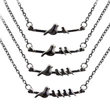 Black Birds Necklace Twig Jewelry Statement Animal Branch Lucky Pet Lover Black Silhouette Halloween Necklace Halloween Jewelry(China)