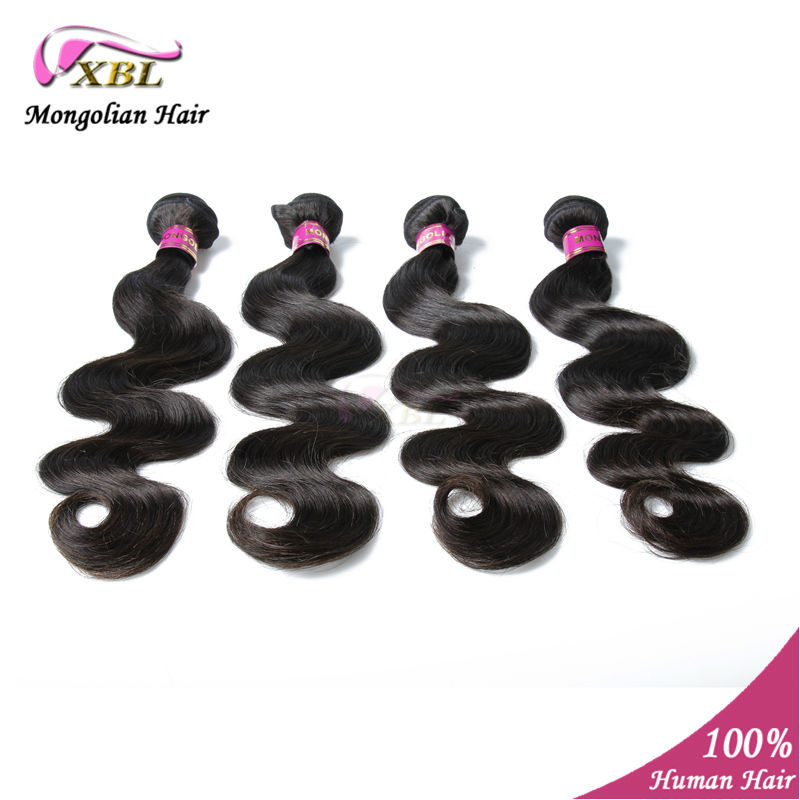 Mongolian Virgin Hair Body Wave 4pcs/lot 6A 100% Human wavy Hair Extension Natural Color Hair weaving XBL Products<br><br>Aliexpress
