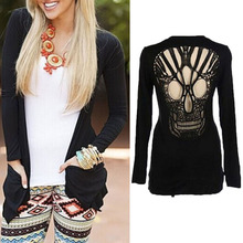 1Pcs Women Sexy Summer Spring Cardigan Black Long Sleeve Skull Backless Top Coat Jacket Outwear For Women M-XL(China)