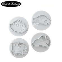 New 1 Set/4pc Transportation Series Cookie Cutter Plane Train Ship Car Fondant Cake Mold Press Mould Cake Decoration(China)