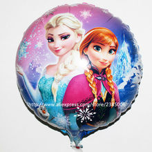 10pcs/lot 45*45cm Elsa & Anna Balloon Cartoon Snow Queen Princess Foil Helium Balloons For Party Decoration Globos Toys(China)