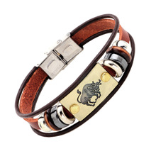 Buy 2017 liujun brand Fashion 12 Constellations zodiac signs Bracelet Genuine Leather Charm Bracelet Men blessing jewelry for $2.86 in AliExpress store