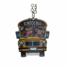 "2017 New Hot Fashion Girls Kids Xmas Christmas Gift Jewelry Cool School Bus Pendant 16"" Short Chain Necklace Free shipping KS103"