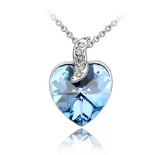 Hot Luxury  Fashion Romantic Lover Pendant Rhodium Plated Necklaces of Crystal From Swarovski Pendants Necklace for women's gift