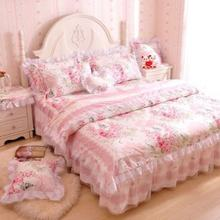 Romantic Flower Print Bedding Set,Floral Bed Set,Princess Lace Ruffle Duvet Cover King Queen Twin,4Pcs(China)