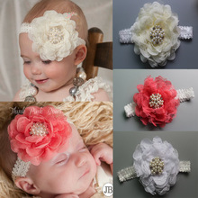 Girl Lace Pearl peony Flower Headband Wide Band Hairband Soft Elastic Hair Band Headwear Hair Accessories 1pc(China)