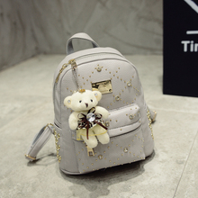 Brand 2017 new leisure diamonds rivet rucksack high quality women shopping package ladies preppy style backpack bear bags 911