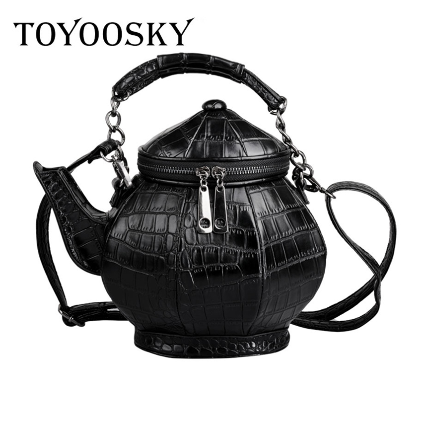 TOYOOSKY2017 new fashion funny teapot shaped handbag womens stone pattern leather single shoulder bag gothic personalized party<br>