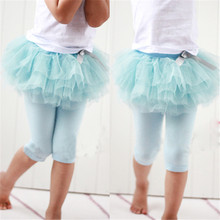 Children Girl Culottes Leggings Gauze Pants Party Skirts With Bow Tutu Skirt Dance Clothing 0-3 Years 3 Colors