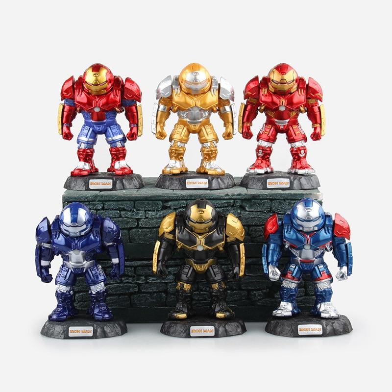 Cute Anime Doll Marvel The Avengers 2 Age of Ultron Iron Man Hulkbuster PVC Action Figure Model Toy 6pcs/set 410.5cm<br>