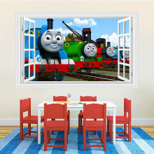 Thomas & Friends Train 3D Vision Window Wall Stickers Home Decor PVC Boys Kids Cartoon Thomas Wall Stickers Kids Bedroom Decor