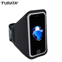 TURATA Sports Mobile Phone Holder Outdoor Waist Bag for iPhone 6S 6 7 Plus, Waterproof Night Running Arm band Case for iphone 7(China)