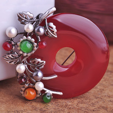 Blucome Round Circle Corsage Replica Red Brooch Retro Flower Brooches Vintage Artificial Pearl Jewelry Scarf Clip Dress Broches(China)