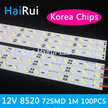 Super bright 100pcs*100cm double chips High bright Korea led lighting DC 12V 72 SMD 18W/M Hard Rigid LED Strip bar light