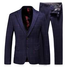 Jacket+Pant+Vest Wine Red Plaid Suit High Quality Formal Wear Business Suit Men's Brand Jackets Suits Three Piece Suit Gent Life