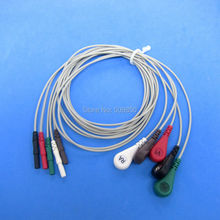 free shipping Universal Din-style ECG Holter Leadwires Cable, 5 Leads Snap AHA standard(China)