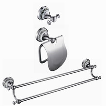 Free shipping copper ceramic chrome Bathroom Bath Hardware Set paper holder,robe hook,double towel bar DB000(China)