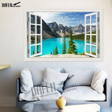 3D Wall Sticker Nature Mountain Lake 3D Window View Wallpaper Home Decor Decals Removable Stickers for Living Room(Hong Kong)