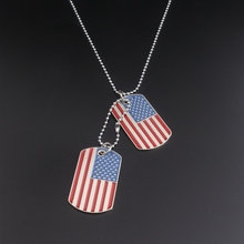 Silver Plated Enamel American Flag Necklace Pendant Double USA Flag Dog Tag Necklaces(China)