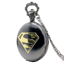 New Arrival Cool Black Case Superman Theme Pocket Watch Blue Dial Quartz Fob Watch With Chain Necklace Gift