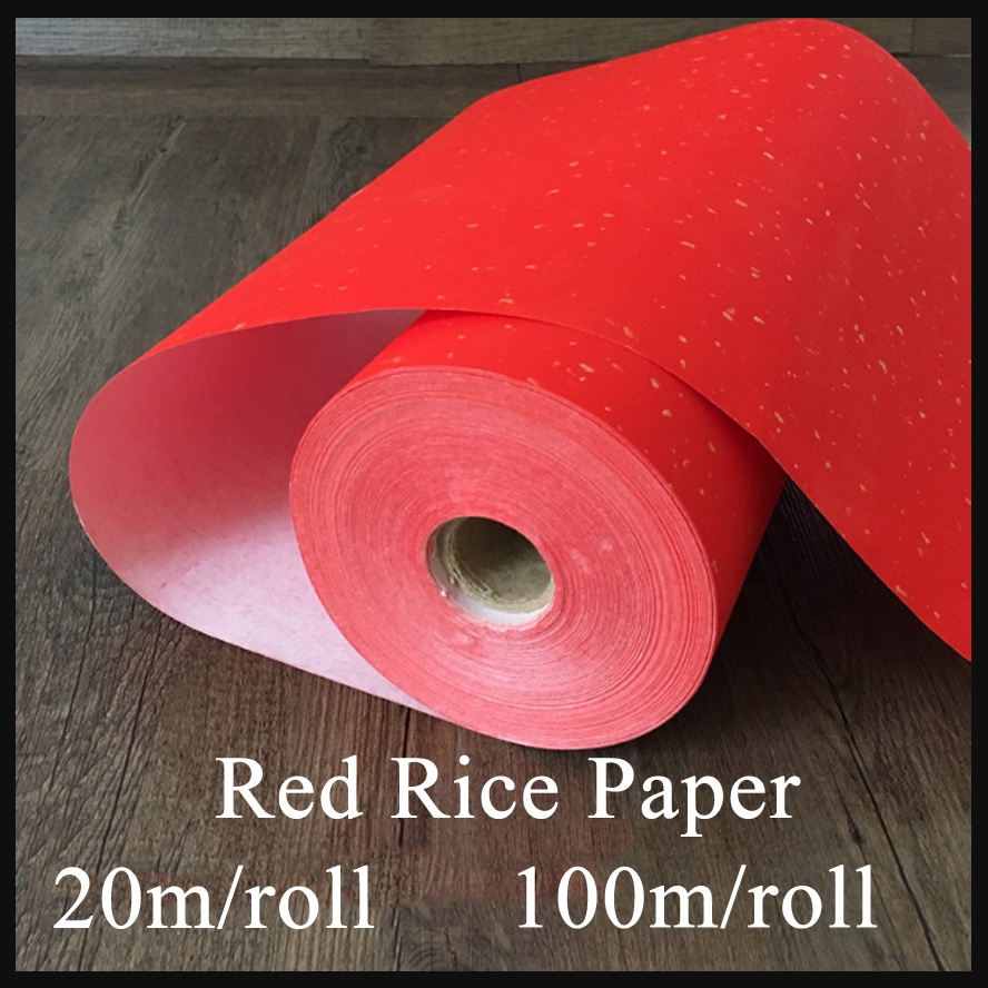 Red Raw Paper Chinese Painting Rice Paper Roll Orgin Bamboo Xuan Paper Painting Supply<br>