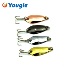 YOUGLE 4 Pcs/lot 3.5cm/4g Metal Spoon Bait Fishing Lure Bass CrankBait Fishing Tackle SP017(China)