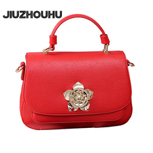 Fashion Women Handbag Female Purse Leather Messenger Bag Famous Designer Golden Flower Decoration High End Luxury Crossbody Bags(China)