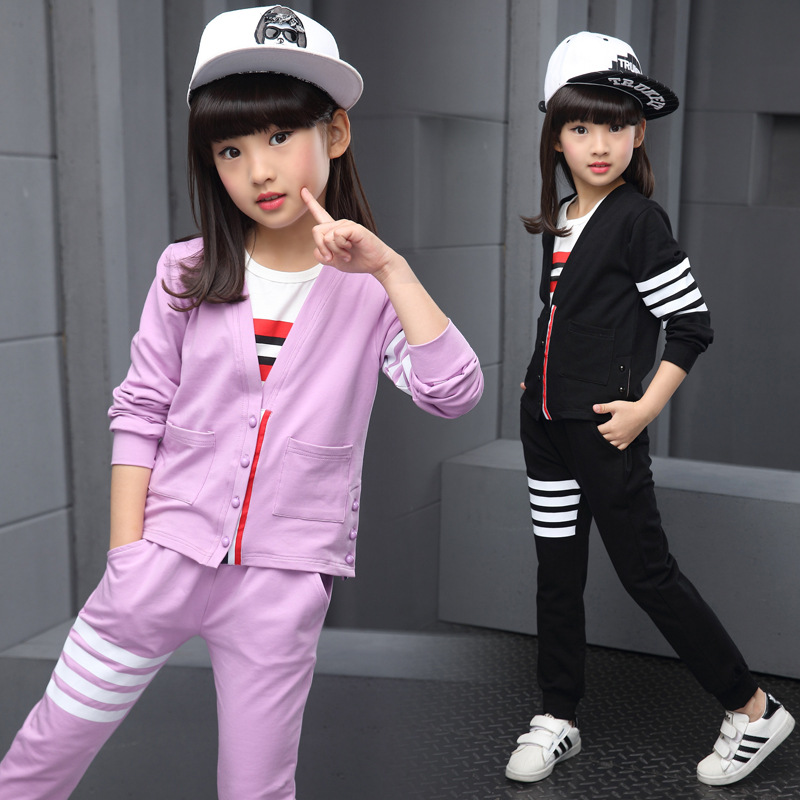 school style pockets coats tops pants clothes suits autumn girls clothes sets black purple gray children clothing new girls kids<br><br>Aliexpress
