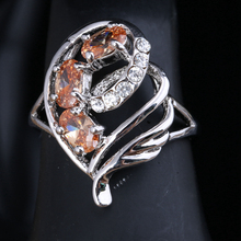 Unusual Gems Orange Champagne Cubic zirconia Morganite 925 Sterling Silver Jewelry Rings Size 6 7 8 9 S1659(China)