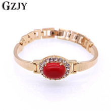 GZJY Fashion Bracelet Gold Color Red Coral &Zircon Gold Bracelet Bangle For Women Wedding Party Gift  Jewelry