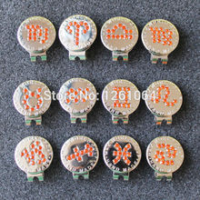 Free Shipping 2017 New Orange Crystal Zodiac Golf Ball Marker w Magnetic Golf Hat Clip