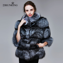 ZIRUNKING Winter Real Silver Fox Fur Coats Women Warm Natural Color Fox Fur Jacket Female Thick Fox Fur Overcoat Clothing ZC1719(China)