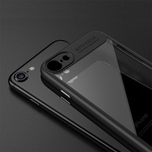Luxury Soft Silicone Frame Hard Transparent Back Case Cover For iPhone 6S 7 7 Plus Slim Full Protection TPU Acrylic Phone Funda(China)
