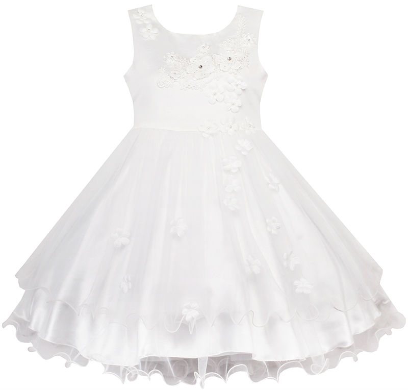 Flower Girls Dress White Wedding Pageant Bridesmaid Gown 2017 Summer Princess Party Dresses Girl Clothes Size 3-10 Sundress<br><br>Aliexpress