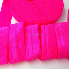 "Top Quality Neon Pink Fold Over Elastic 3/4"" FOE Ribbon Stretchy Elastic Trim for Headband DIY Headwear Hair Accessories 10Y/lot"