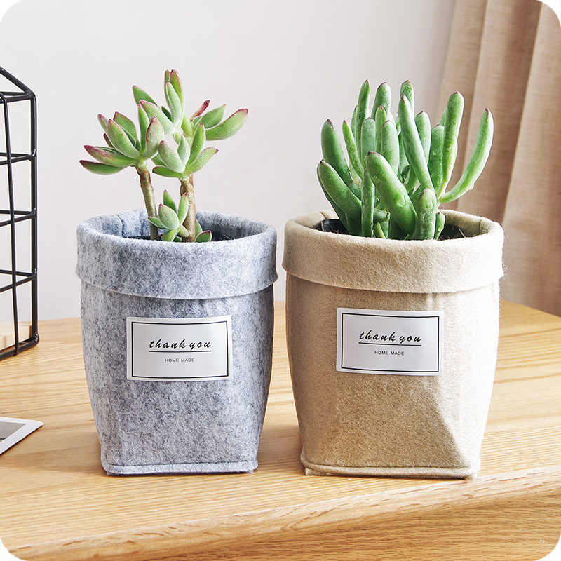 2019 New Letters Print Felt Flower Pots Home Desktop Flowerpot for Flower/Green Plant Light Gray/Khaki