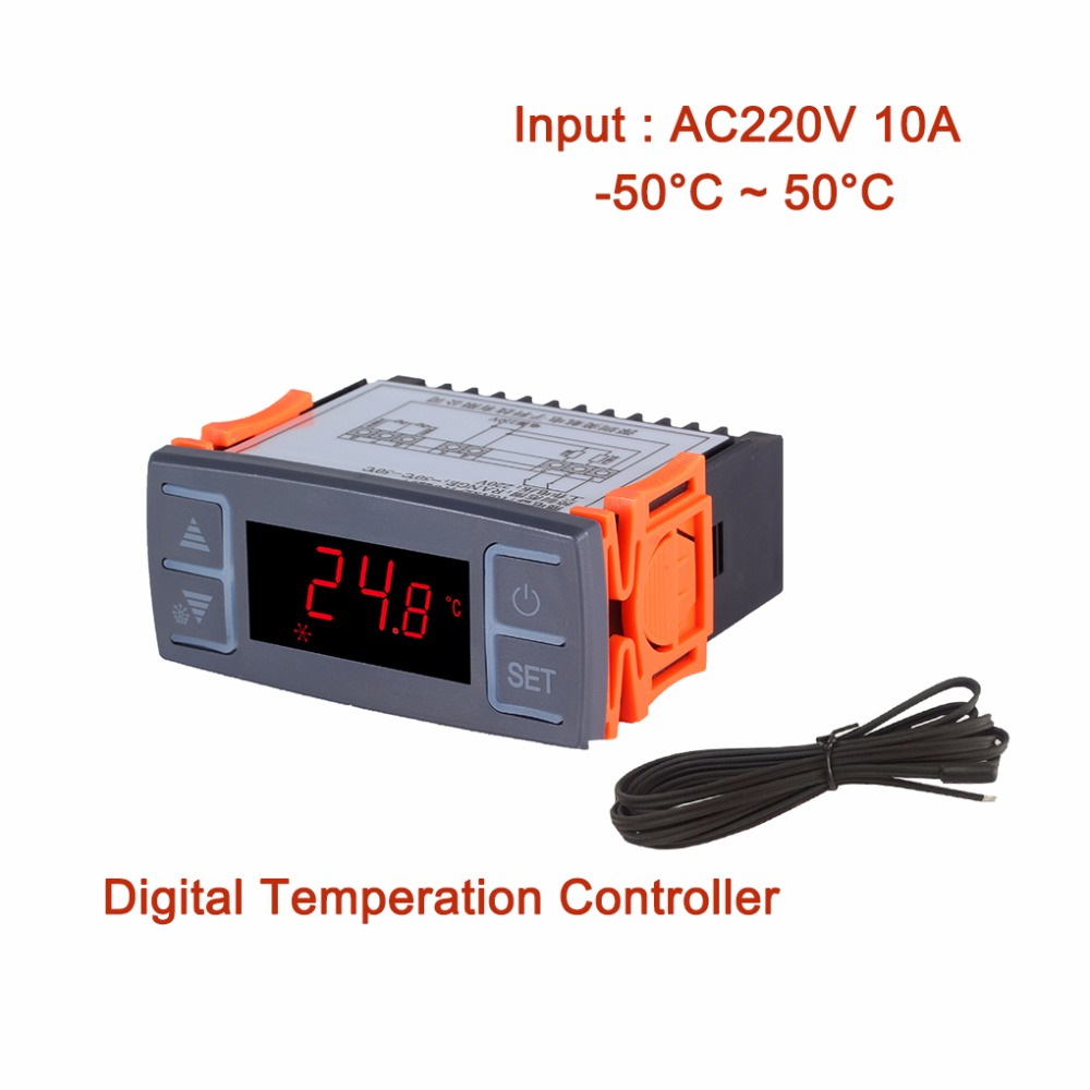 AC220V 10A Digital Refrigerator Temperature Controller Freezer Refrigeration Defrost Thermostat Alarm Function+Sensor