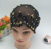 lace cap bonnet cap with beads Headwrap hat lace back close under hijab mixed 6 Colour 10pcs/lot free ship